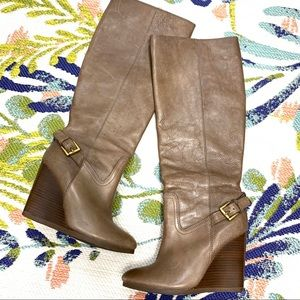 Coach Dorthy Taupe Pebbled Leather Wedge Tall Boot
